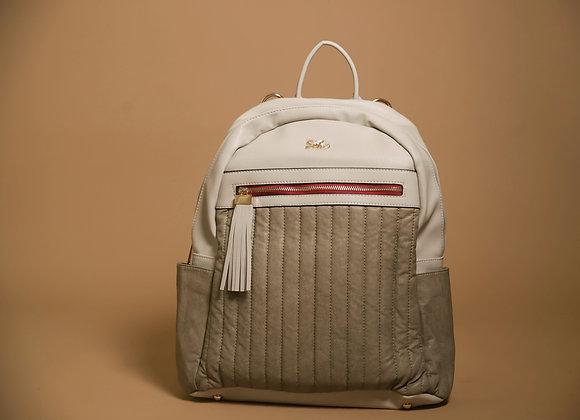 Tan and White Diaper Bag