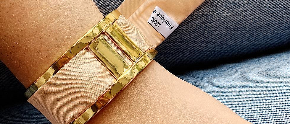 Manchette JMA de 3 cm - Bracelet uni Rose pâle