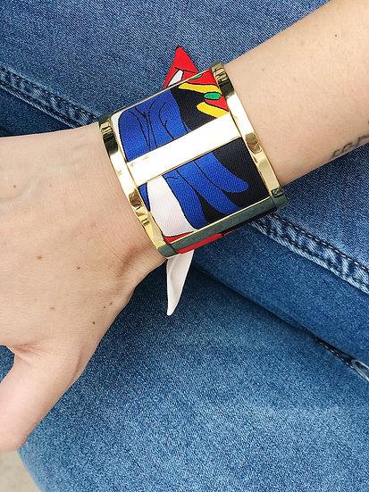 Grande Manchette JMA et bracelet Jeu de mains, Blanc cassé