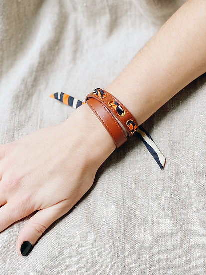 Bracelet double tour camel Cycle, ruban Zèbre orange