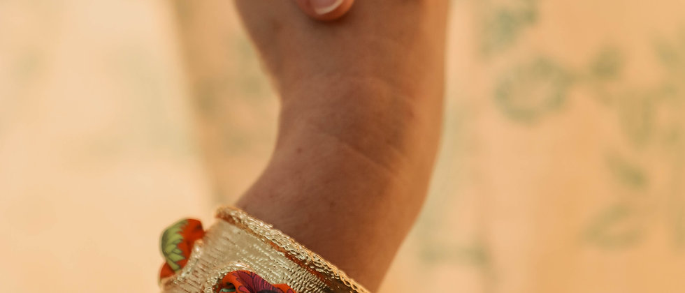 Manchette Queen et bracelet Tournesols, orange