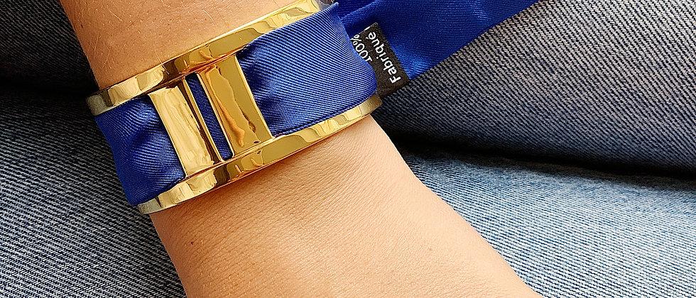 Manchette JMA de 3 cm - Bracelet uni Bleu électrique