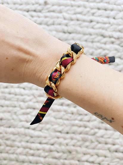Bracelet Chaîne et son ruban Tigre cerise