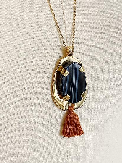 Collier Mercure à Agate Noire et pompon ambre