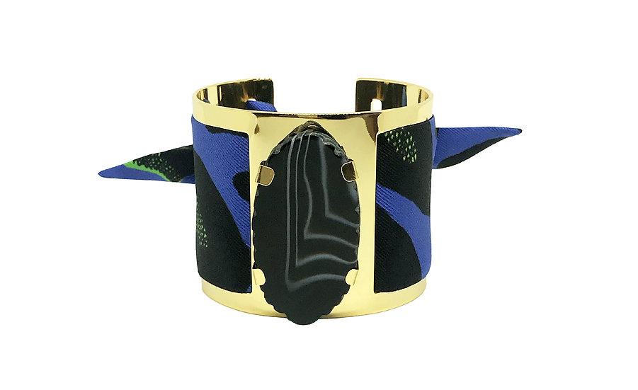 Grande manchette MERCURE, agate Noire - Leopard Bleu Electrique