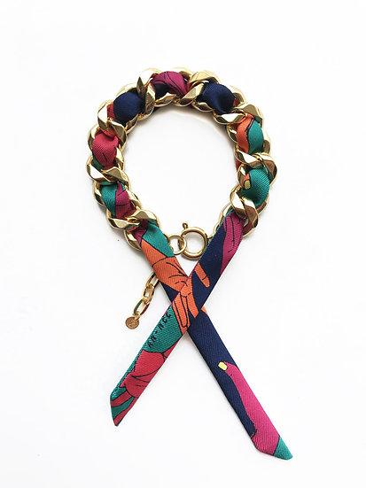 Bracelet Chaîne et son ruban Jeu de mains, Turquoise