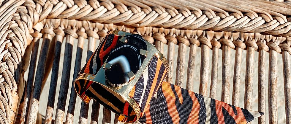 Grande manchette MERCURE, agate noire et bracelet Zèbre, orange