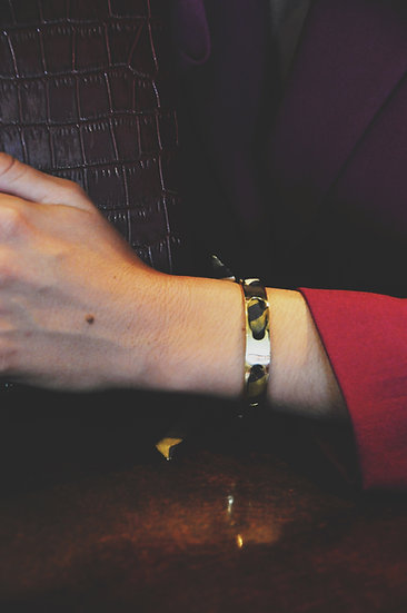 Bracelet Proust et ruban Le zèbre khaki