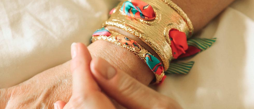 Manchette Queen et bracelet Soleil, corail