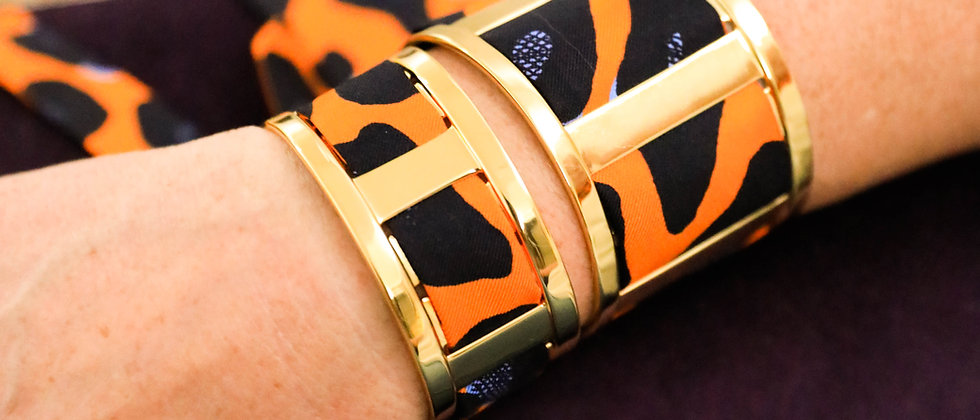 Grande Manchette JMA et bracelet Léopard, orange