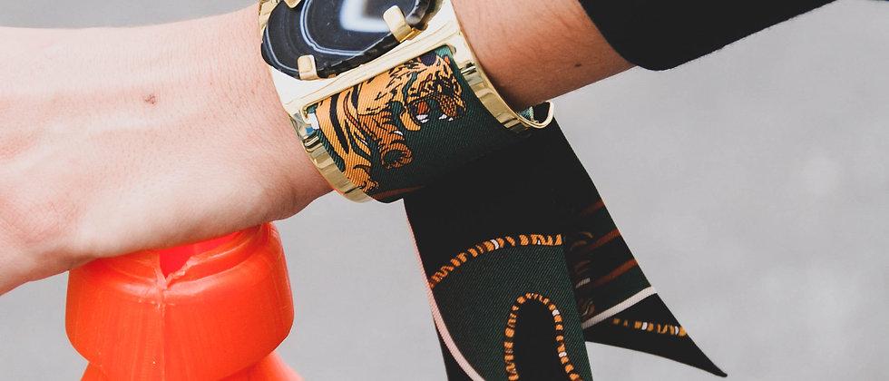 Grande manchette MERCURE, agate noire et bracelet Le Tigre, vert