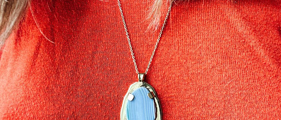Collier Mercure à Agate bleue