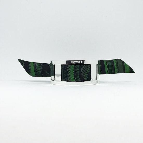 Petite manchette argent & son bracelet Arbre Animal - Flou