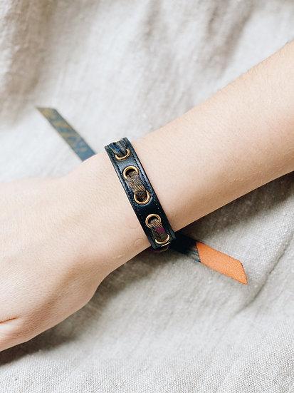 Bracelet noir Cycle, ruban L'Aigle khaki