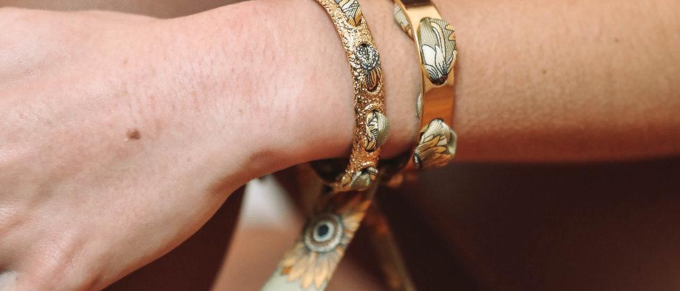 Bracelet Proust et ruban Tournesols vert