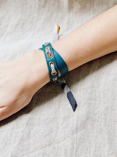 Bracelet double tour octane Cycle, ruban Libre, noir