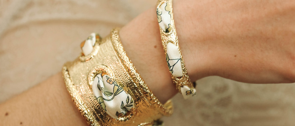 Bracelet Queen et ruban Liberty, blanc cassé