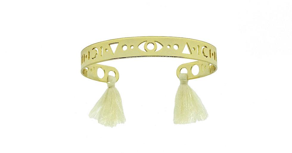 Bracelet MARRAKECH - Pompons blanc cassé