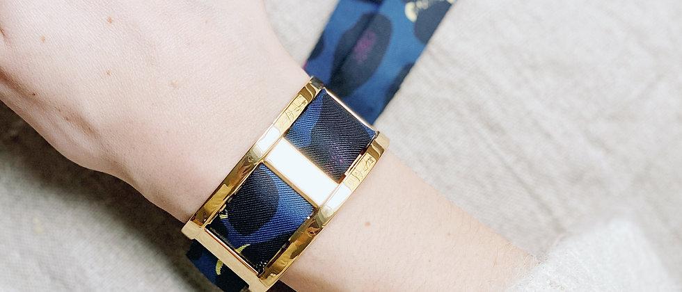 Manchette JMA de 3 cm - Bracelet Léopard, marine