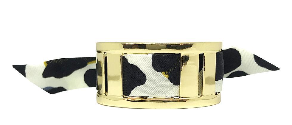 Manchette JMA de 3 cm - Bracelet Léopard, Blanc cassé
