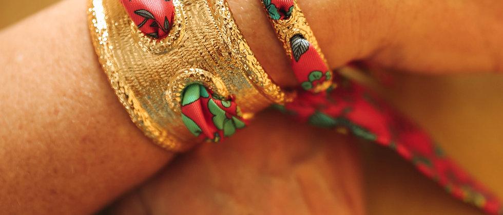 Bracelet Queen et ruban Liberty, rose