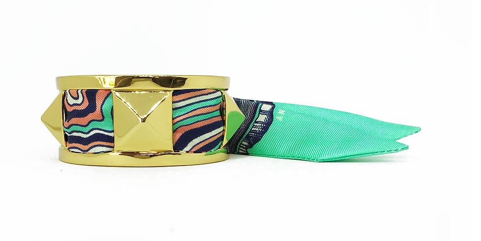 Manchette 3cm CLOU - Bracelet Souche, Vert Menthe