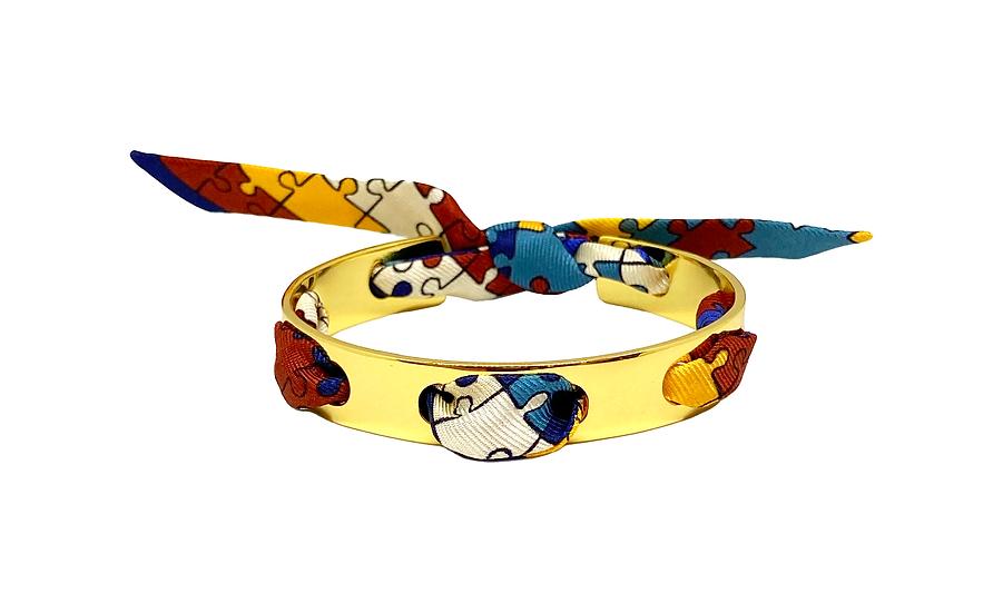 Bracelet Proust et son ruban Puzzle, Bleu Ardoise