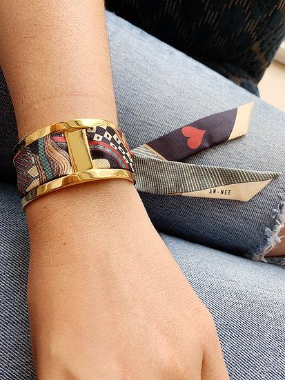 Manchette JMA de 3 cm - Bracelet Dame de coeur, colori Jean