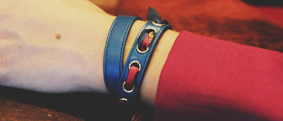 Bracelet double tour octane Cycle, ruban Le Tigre, cerise