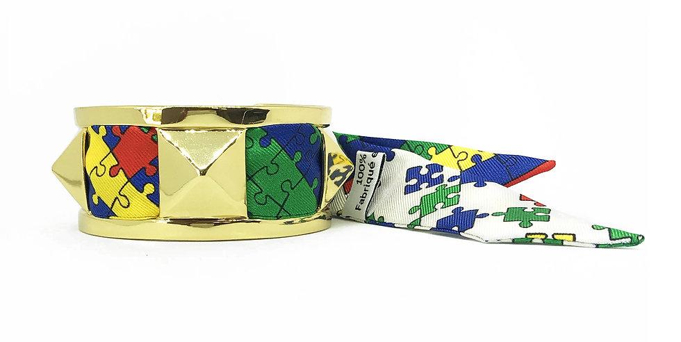 Manchette 3cm CLOU - Bracelet Puzzle, colori blanc cassé