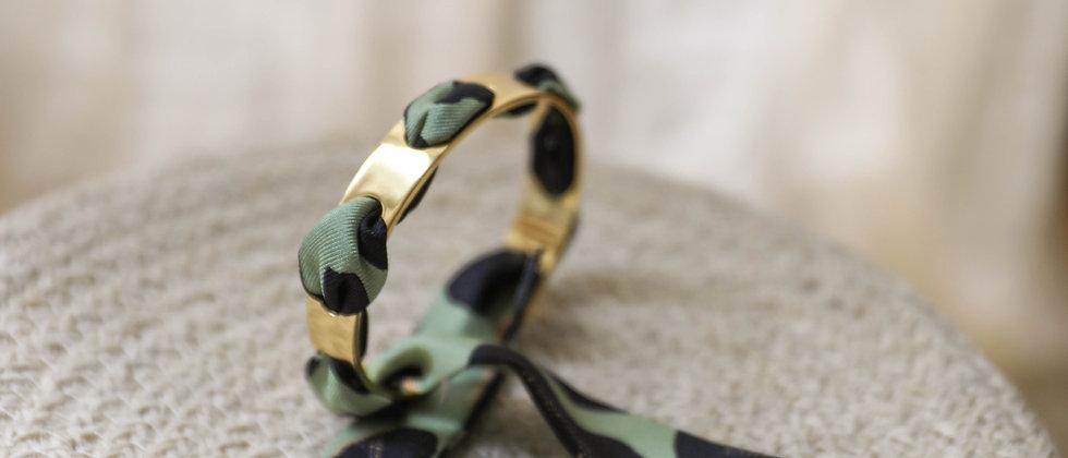Bracelet Proust et ruban Léopard, vert sauge
