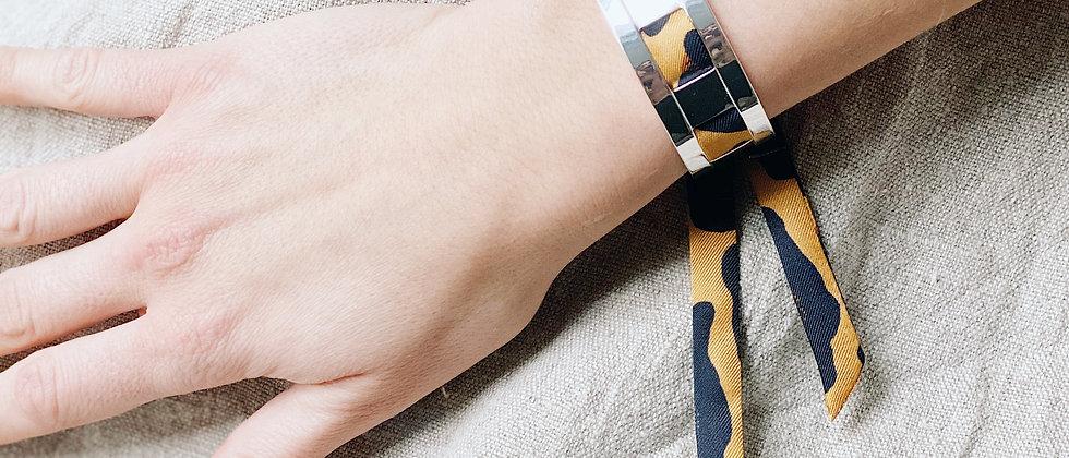 Petite Manchette JMA de 2 cm - Bracelet Léopard moutarde
