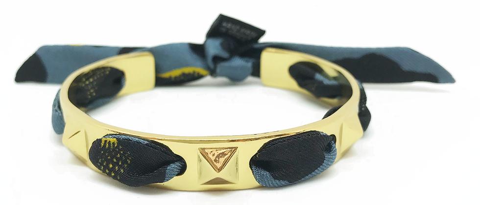 Bracelet Clous et ruban Léopard, Bleu Jean