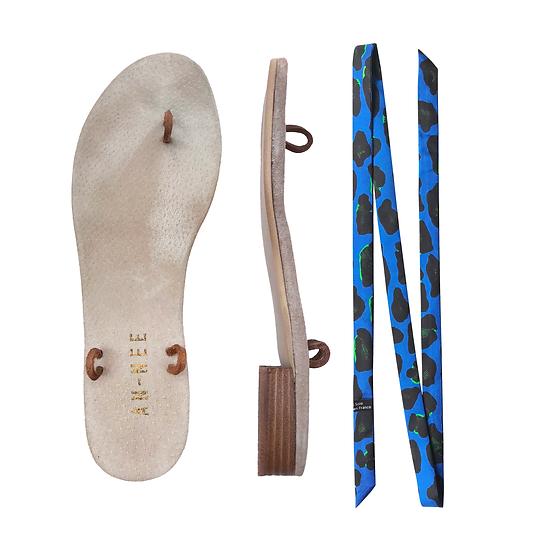 Sandales Horae - Lacets Léopard Bleu Electrique