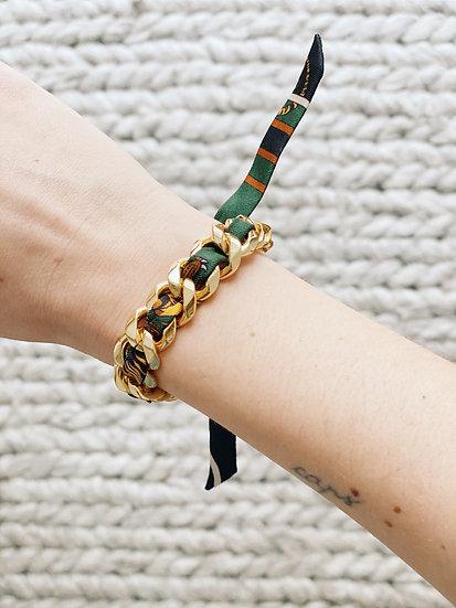 Bracelet Chaîne et son ruban Tigre vert