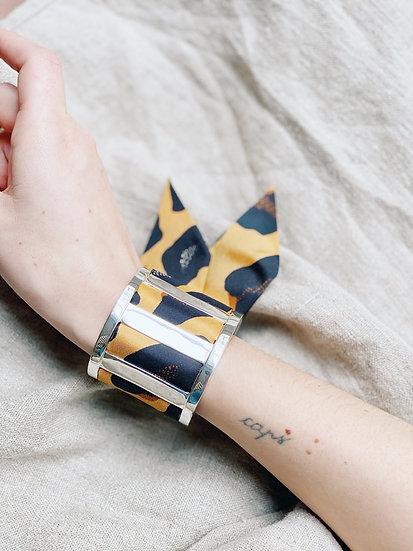 Grande Manchette JMA et bracelet Léopard, moutarde