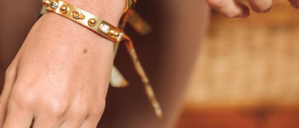 Bracelet Soleil et ruban Liberty blanc cassé