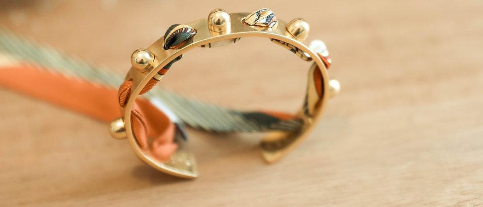 Bracelet Soleil et ruban Soleil, terracotta