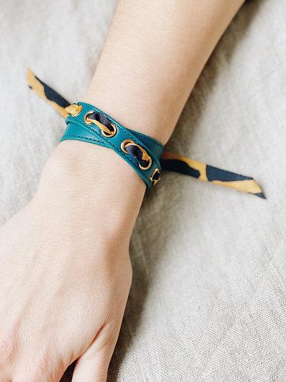 Bracelet double tour octane Cycle, ruban Léopard, moutarde