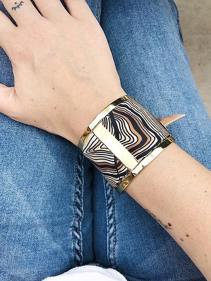 Grande Manchette JMA et bracelet Souche beige