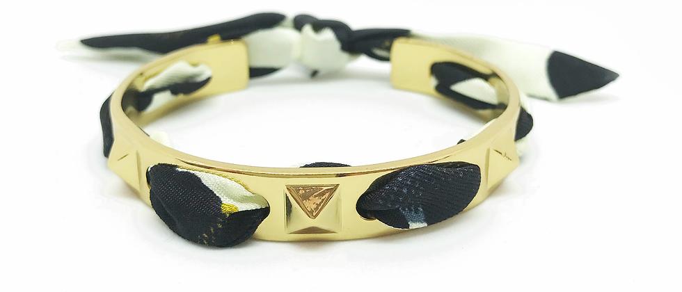 Bracelet Clous et ruban Léopard, Blanc cassé