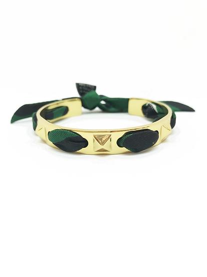 Bracelet Clous et ruban Léopard, Vert foncé