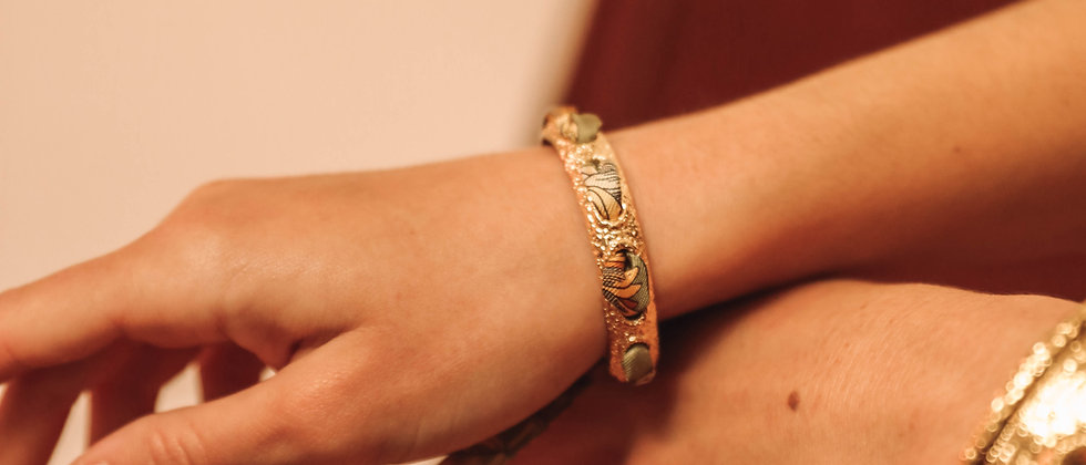 Bracelet Queen et ruban Tournesols, vert