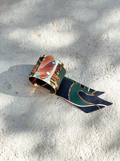 Grande manchette MERCURE, agate cornaline et bracelet Le Tigre, vert
