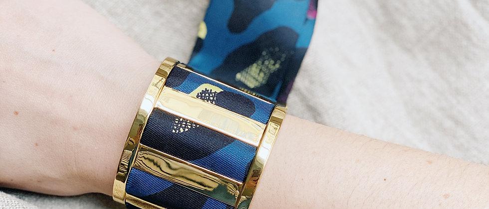 Grande Manchette JMA et bracelet Léopard, marine