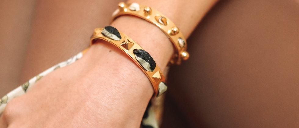 Bracelet Clous et ruban Léopard, vert sauge