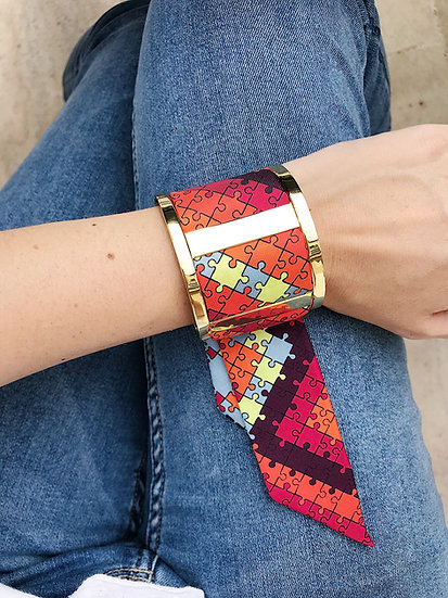 Grande Manchette JMA et bracelet Puzzle, Bleu Jean