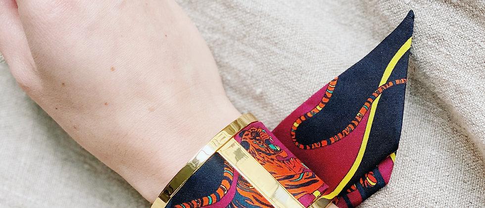Grande Manchette JMA et bracelet Le Tigre, cerise