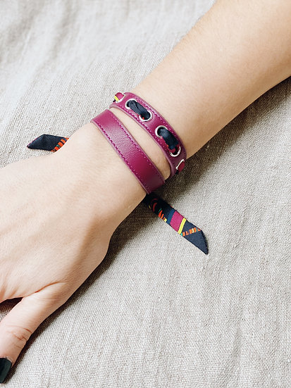 Bracelet double tour cerise Cycle, ruban Le Tigre cerise