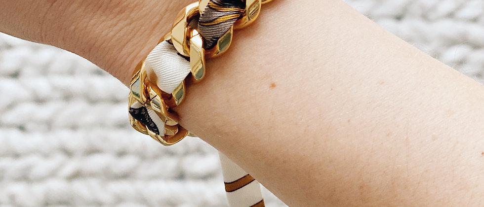 Bracelet Chaîne et son ruban Tigre blanc cassé